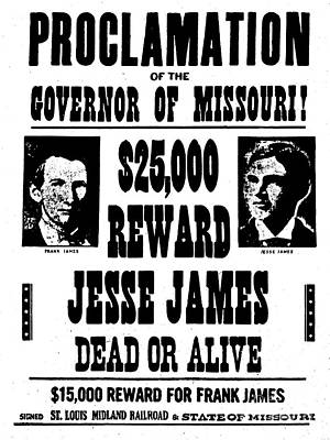 Painting - Jesse James Dead Or Alive by American School