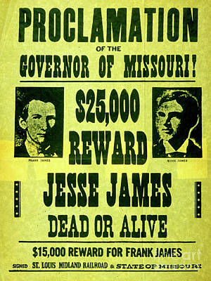 Drawing - Jesse James Dead Or Alive Vintage Wanted Poster by American School