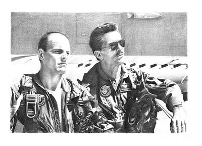 Val Kilmer Wall Art - Drawing - Jester And Viper Top Gun by Reinaldo Art