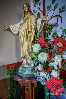Photograph - Jesus Christ With Flowers by Adrian Evans