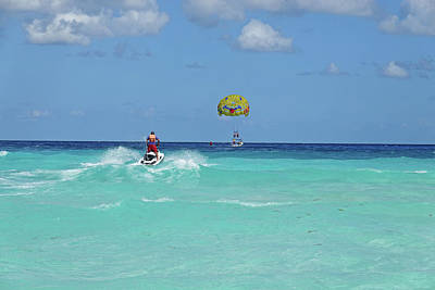 Photograph - Jet Skiing On The Beautiful Blue Water Of Cancun Beach Cancun Mexico by Toby McGuire