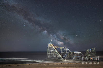 Photograph - Jet Star Roller Coaster Milky Way by Michael Ver Sprill