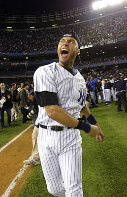 Photograph - Jeter Celebrates Win by Ezra Shaw