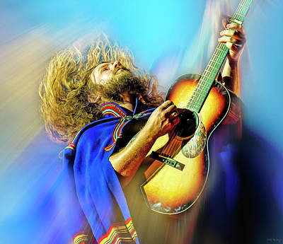 Musicians Mixed Media Royalty Free Images - Jim James of My Morning Jacket Royalty-Free Image by Mal Bray