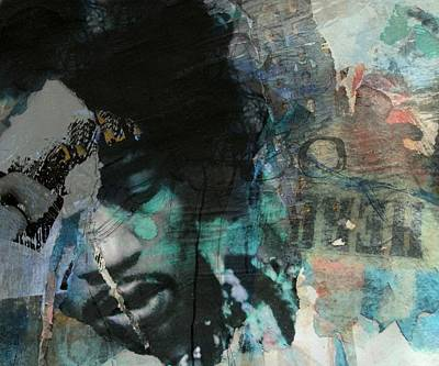 Mixed Media - Jimi Hendrix Collage by Paul Lovering