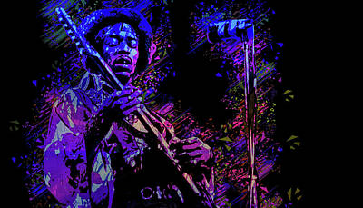 Digital Art - Jimi Hendrix by Max Huber