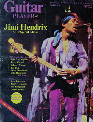 Music Royalty-Free and Rights-Managed Images - Jimi Hendrix On Cover Of Guitar Player 1975 by Patrick Nowotny