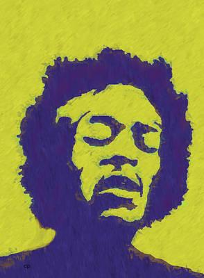 Wall Art - Digital Art - Jimi Hendrix Shining by Digital Painting