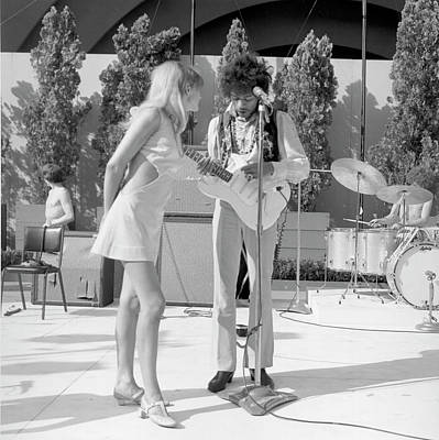 Music Photograph - Jimi Hendrix With A Muse by Michael Ochs Archives