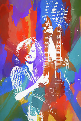 Music Paintings - Jimmy Page Led Zeppelin by Dan Sproul