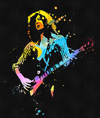 Music Paintings - Jimmy Page Watercolor Splash by Dan Sproul