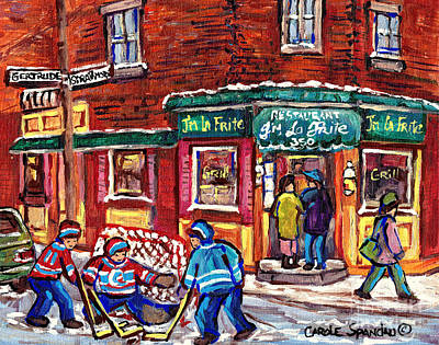 Painting - J'm La Frite Restaurant Verdun Montreal Hockey Art Boys Of Gertrude And Strathmore C Spandau Artist  by Carole Spandau