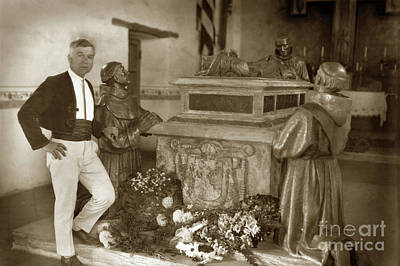 Photograph - Jo Mora With The Father Serra Memorial Centotaph At Carmel Missi by California Views Archives Mr Pat Hathaway Archives