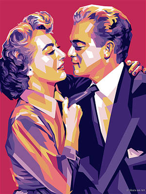 Train Paintings Rights Managed Images - Joan Crawford and Van Heflin Royalty-Free Image by Stars on Art