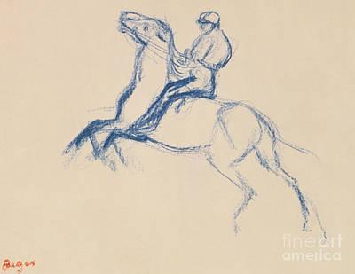 Drawing - Jockey On Horseback by Edgar Degas