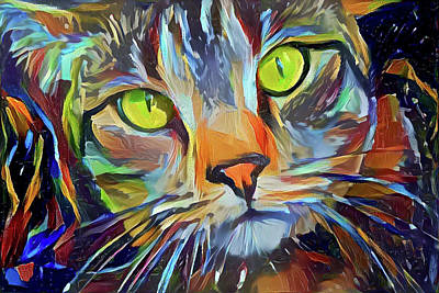 Digital Art - Jocko The Colorful Tabby Cat by Peggy Collins
