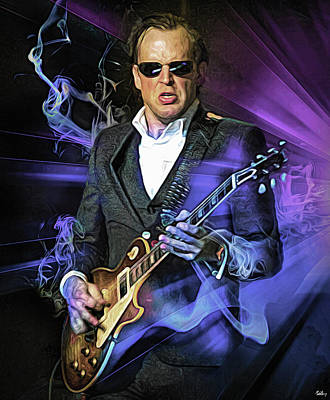 Musicians Mixed Media Royalty Free Images - Joe Bonamassa Royalty-Free Image by Mal Bray