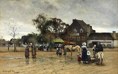 Painting - Johan Ericson 1849-1925 Square In Concarneau by Johan Ericson