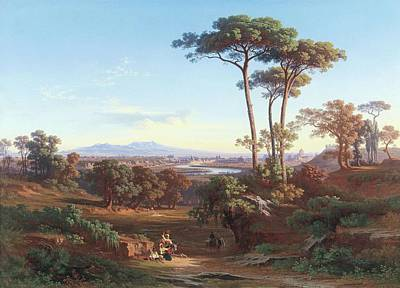 Painting - Johann Jakob Frey  Private Collection. View Of Rome As Seen From Monte Mario 1850 by Johann Jakob Frey
