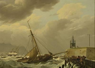 Painting - Johannes Hermanus Koekkoek - Ships In Stormy Seas 1821 by Johannes Hermanus Koekkoek