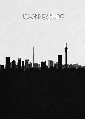 Digital Art - Johannesburg Cityscape Art by Inspirowl Design