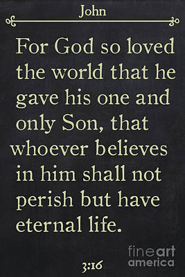 Painting -  John 3 16 -bible Verse Wall Art Collection by Mark Lawrence