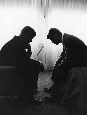 Photograph - John Kennedy Confers With Robert Kennedy by Hank Walker