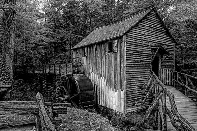 All American - John P. Cable Grist Mill Black and White by Judy Vincent