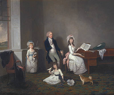 Painting - John Richard Comyns Of Hylands, Essex, With His Daughters by John Greenwood