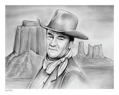 Drawings Royalty Free Images - John Wayne 07oct18 Royalty-Free Image by Greg Joens
