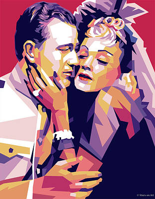 Curated Bath Towels - John Wayne and Marlene Dietrich by Stars on Art