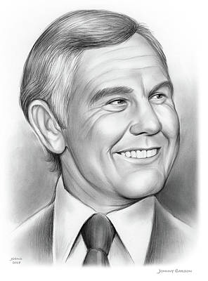 Drawing - Johnny Carson 14sep18 by Greg Joens