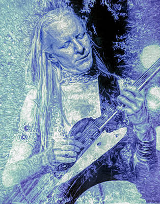 Music Mixed Media - Johnny Winter Blues Guitarist by Mal Bray