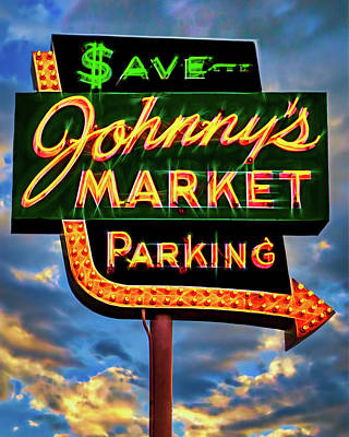 Photograph - Johnny's Market Neon Sign by Robert FERD Frank