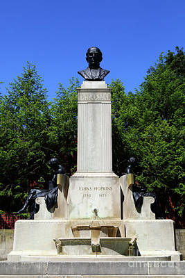 Photograph - Johns Hopkins Monument Baltimore by James Brunker