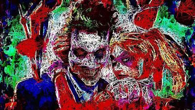 Mixed Media - Joker And Harley Quinn 2 by Al Matra
