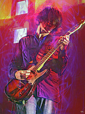 Musicians Mixed Media Royalty Free Images - Jonny Greenwood, Radiohead Royalty-Free Image by Mal Bray