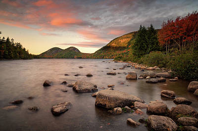 Photograph - Jordan Pond Sunset by Darylann Leonard Photography