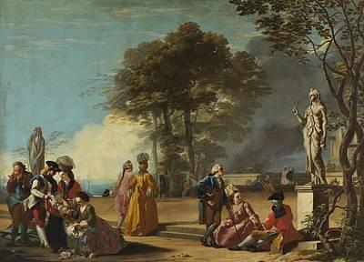 Painting - Jose Del Castillo - El Parque Del Retiro Con Paseantes 1779 by Jose del Castillo