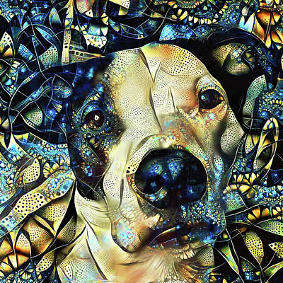 Digital Art - Joshua The Staffordshire Terrier Great Dane Cross by Peggy Collins