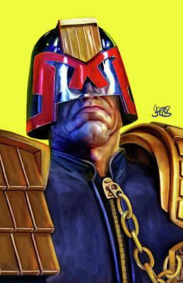 Comics Mixed Media - Judge Dredd by Mark Spears