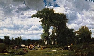 Painting - Jules Dupre - Paysage Avec Du Betail Au Limousin 1837 by Jules Dupre