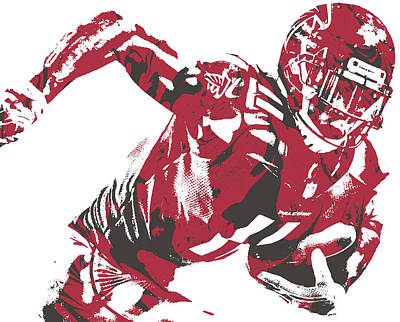 Atlanta Falcons Wall Art - Mixed Media - Julio Jones Atlanta Falcons Pixel Art 30 by Joe Hamilton