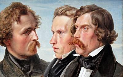 Painting - Julius Hubner - Die Maler Karl Friedrich Lessing, Carl Sohn Und Theodor Hildebrandt 1839 by Julius Hubner