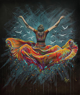 Painting - Jump And Fly by Sue Art studio