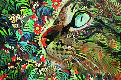 Digital Art - Jungle Cat by Peggy Collins