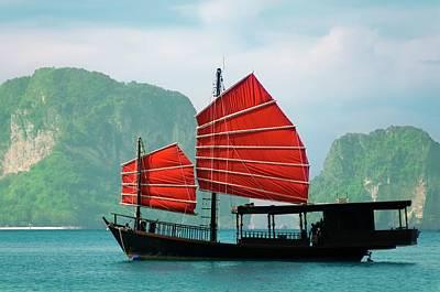 Junk Boat Wall Art - Photograph - Junk Ship With Mountain Island by R9 ronaldo