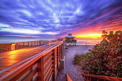 Photograph - Juno Beach At The Pier by Debra and Dave Vanderlaan