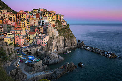 Wall Art - Photograph - Just Before Dark Manarola Cinque Terre Italy by Joan Carroll