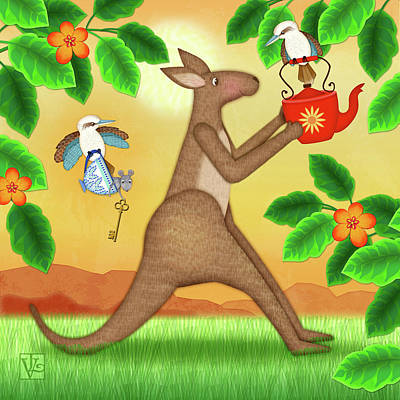 Digital Art - K Is For Kangaroo And Kookaburra by Valerie Drake Lesiak